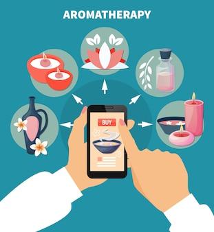 Aromaterapia online menu płaski plakat