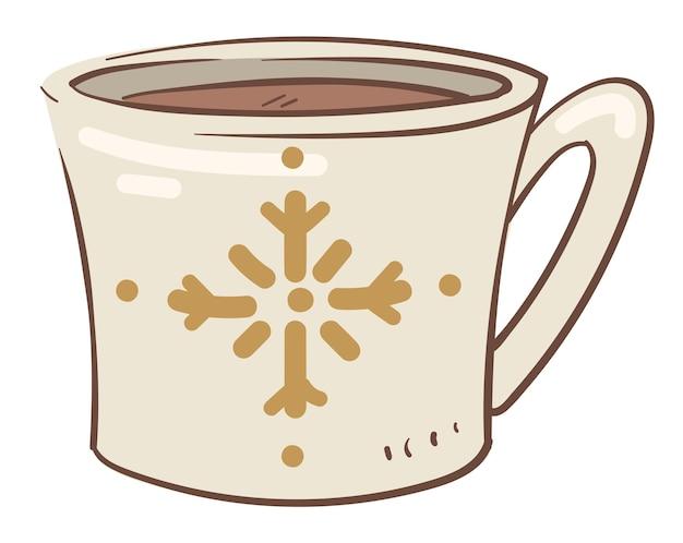 Aromatyczna kawa lub herbata nalana do filiżanki z nadrukiem płatka śniegu. na białym tle kubek z gorącym napojem. pyszny napój z cynamonem i ziołami lub kofeiną. nowy rok i czas świąt. wektor w stylu płaskiej