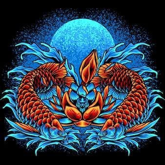 Arowana ryba i kwiaty lotosu