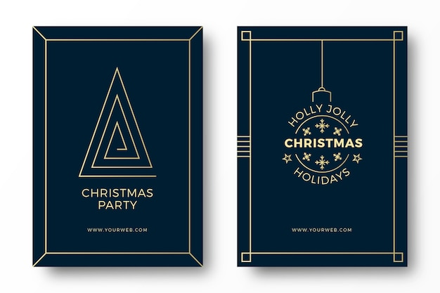 Art deco christmas party cards