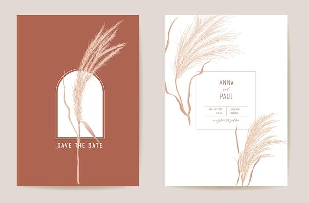 Art deco nowoczesne zaproszenie na ślub pampas trawa karta. jesień boho akwarela szablon wektor. zapisz datę złotymi liśćmi minimalistyczny plakat, modny design, luksusowe tło, ilustracja kwiatowa