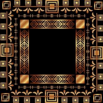 Art deco rama vintage ornament streszczenie geometryczne
