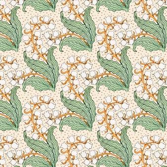 Art nouveau konwalia kwiat wektor wzór zasób projektowania