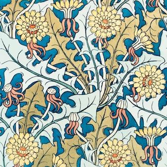 Art nouveau kwiat mniszek wzór tła wektor