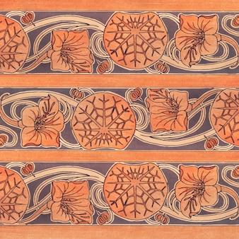 Art nouveau nasturcja tło wzór kwiatowy