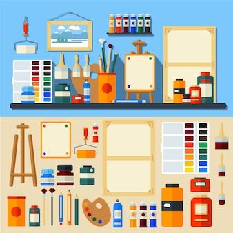 Art studio narzędzia kreatywność i malarstwo w stylu płaski wektor
