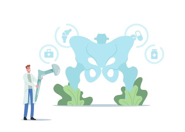 Artroplastyka, choroba zwyrodnieniowa stawów, koncepcja wymiany stawu biodrowego. mały lekarz trzymający ogromny implant protezy biodrowej