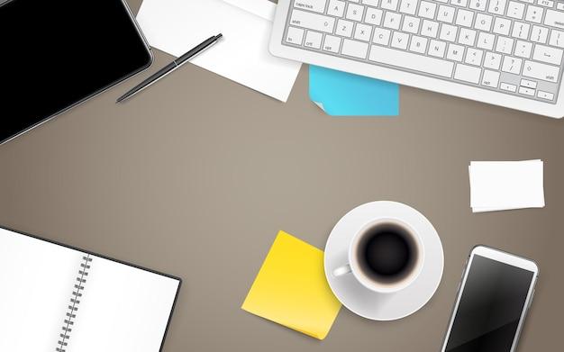 Artykuły biurowe. różne rzeczy biznesowe na drewnianym stole. szablon tekstu