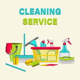 Artykuły gospodarstwa domowego do czyszczenia. usługa sprzątania mieszkań, domów mieszkalnych i budynków komercyjnych.