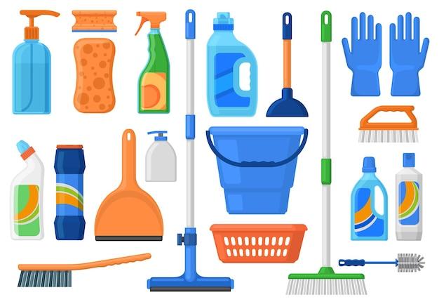 Artykuły gospodarstwa domowego, narzędzia do sprzątania i butelki na detergenty. środki czystości, detergenty, szczotka, wiadro i mop wektor zestaw ilustracji. narzędzia do sprzątania domu
