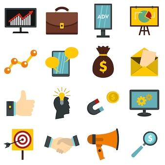 Artykuły marketingowe ustawiają płaskie ikony