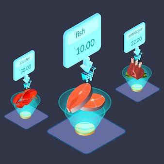 Artykuły spożywcze na wyświetlaczu izometrycznej ilustracji