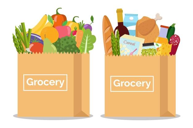 Artykuły spożywcze w papierowej torbie oraz warzywa i owoce w papierowej torbie ilustracja wektorowa płaska konstrukcja