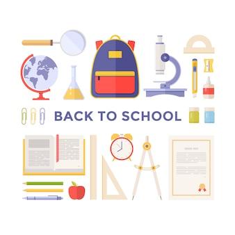 Artykuły szkolne, materiały: podręcznik, mikroskop, kula ziemska, plecak, lupa, dyplom na białym tle