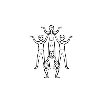 Artyści cyrkowi dokonywanie ludzkiej piramidy ręcznie rysowane konspektu doodle ikona. wykonawców cyrkowych dokonywanie ilustracji szkic wektor sztuczka do druku, sieci web, mobile i infografiki na białym tle.