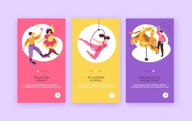 Artyści cyrkowi izometryczni pokazują kolekcję banerów z kompozycjami ludzkich postaci