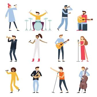 Artyści muzyczni. artysta grający na gitarze, młody perkusista i piosenkarz popowy. instrumenty muzyczne etap graczy na białym tle płaski zestaw