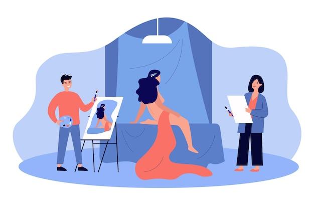 Artyści rysunek portret nagiej modelki. malarze prowadzący zajęcia z rysunku w studiu lub szkole, tworząc obrazy olejem i pędzlem