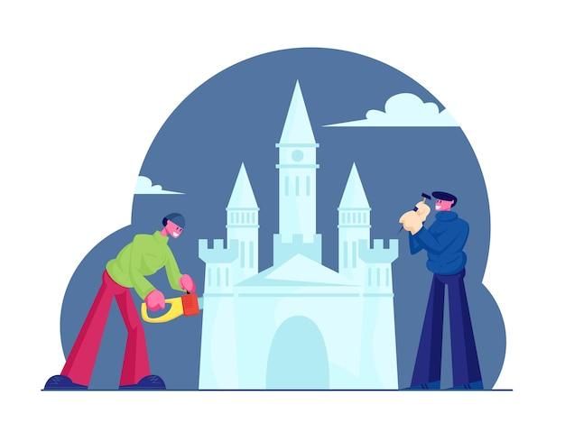 Artyści wykonujący przezroczystą rzeźbę zamku w ice town, ilustracja kreskówka płaski