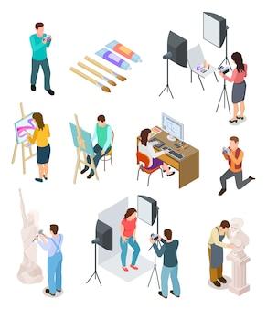 Artysta izometryczny. pracownia artystyczna artystyczna fotografia rzeźba artyści rzeźbiarz malarstwo pracujący obraz twórczy ludzie