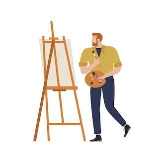 Artysta kreskówka odizolowany charakter w twórczych hobby artystycznych