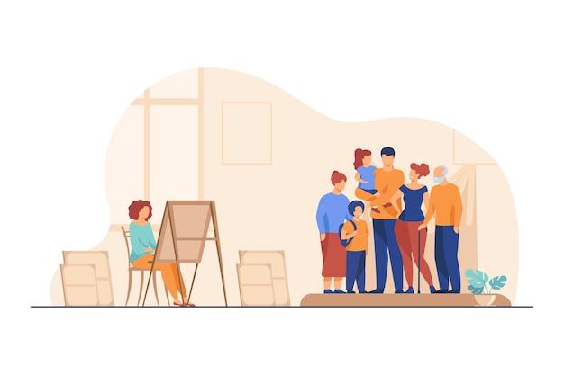 Artysta malujący portret rodzinny. obraz, matka, dzieci płaskie wektor ilustracja. pracownia artystyczna lub warsztat