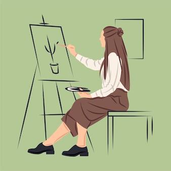 Artysta wektorowy w cieniu stylu ostrych linii