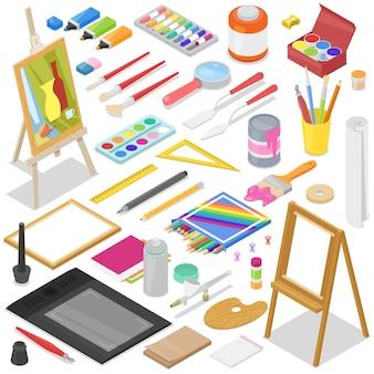 Artysta wytłacza wzory akwarelę z paintbrushes paletą i kolorem maluje na kanwie dla grafiki w sztuki pracownianym ilustracyjnym artystycznym obrazie ustawiającym na tle