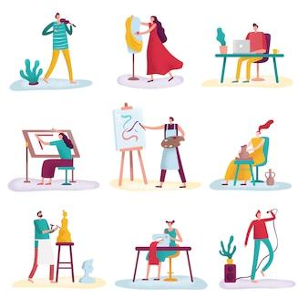 Artysta zawodu kreatywnego. artysta rzeźbiarz, malarz i modnik. twórcy artystów na białym tle zestaw
