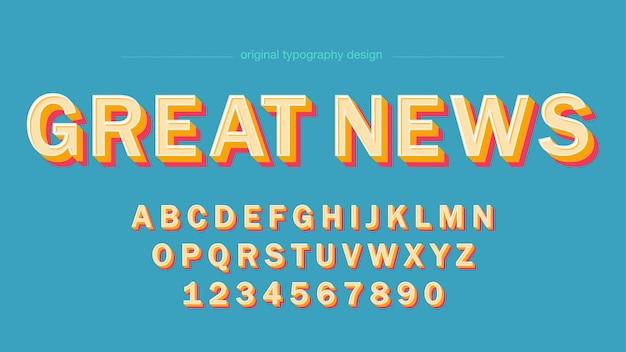 Artystyczna czcionka retro kolorowe pogrubione wielkie litery