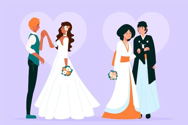 Artystyczna ilustracja z ślubnymi parami