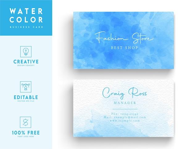 Artystyczna niebieska wizytówka akwarela