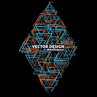 Artystyczne abstrakcyjne tło w jasnoniebieskich i pomarańczowych kolorach wykonane z losowych trójkątnych kształtów