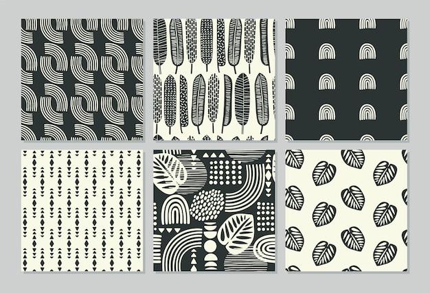 Artystyczne wzory bez szwu z abstrakcyjnymi liśćmi i geometrycznymi kształtami.