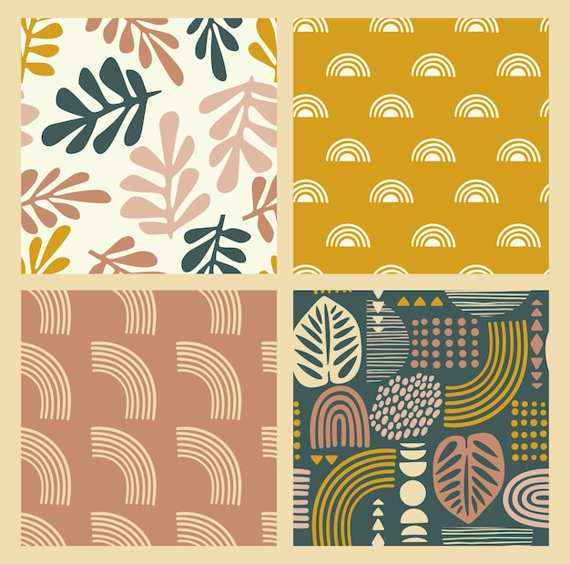 Artystyczne wzory bez szwu z abstrakcyjnymi liśćmi i geometrycznymi kształtami