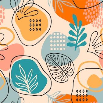 Artystyczny bezszwowy wzór z abstrakcjonistycznymi liśćmi. nowoczesny design