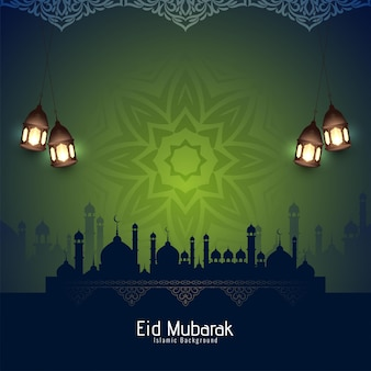 Artystyczny eid mubarak islamski festiwal religijny projekt tło wektor