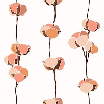 Artystyczny kolaż bezszwowych kwiatów bawełny w minimalistycznym, modnym stylu. sylwetka gałązki bawełny w nowoczesnym prostym stylu. tło do drukowania koszulek, pocztówek, plakatów