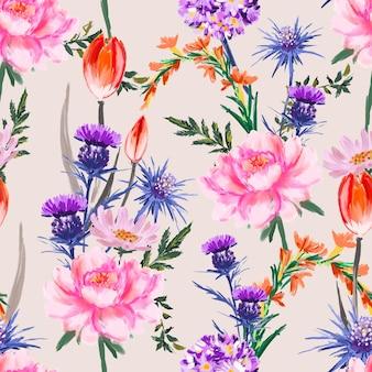 Artystyczny kwiat ręcznie malowany miękki i delikatny nastrój bez szwu kwitnący kwiatowy wzór