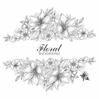Artystyczny ozdobny szkic kwiatowy