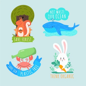 Artystyczny rysunek kolekcji znaczków ekologii