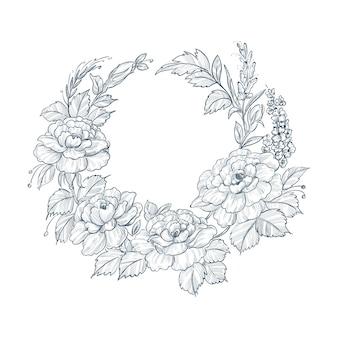 Artystyczny vintage szkic ozdobny wesele kwiatowy tło