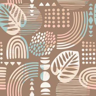 Artystyczny wzór z abstrakcyjnymi liśćmi i geometrycznymi kształtami.