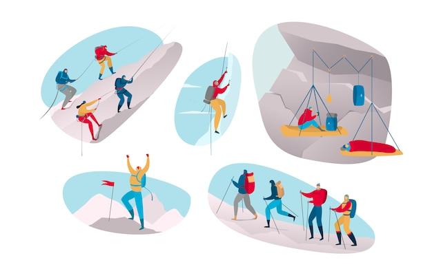 Arywista w sporcie ekstremalnym na górze. ludzie wspina się w plenerowej przygody kreskówki ilustraci odizolowywającej