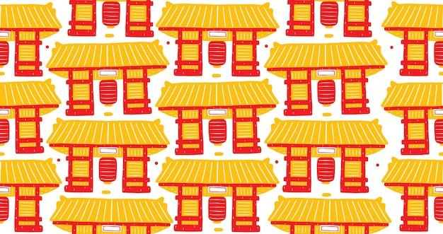 Asakusa seamless pattern w stylu płaskiej konstrukcji