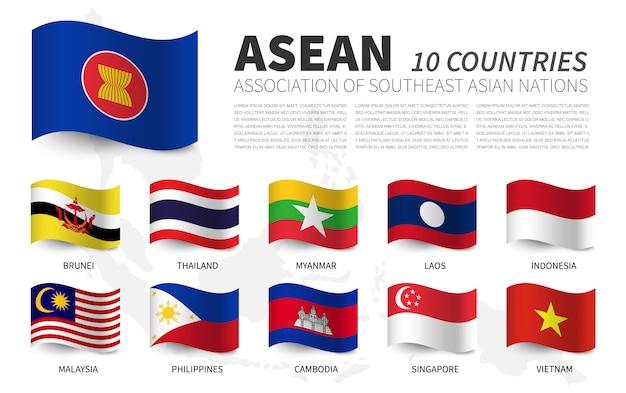 Asean. stowarzyszenie narodów azji południowo-wschodniej i członkostwo. projekt flag z falowaniem. mapa azji południowo-wschodniej