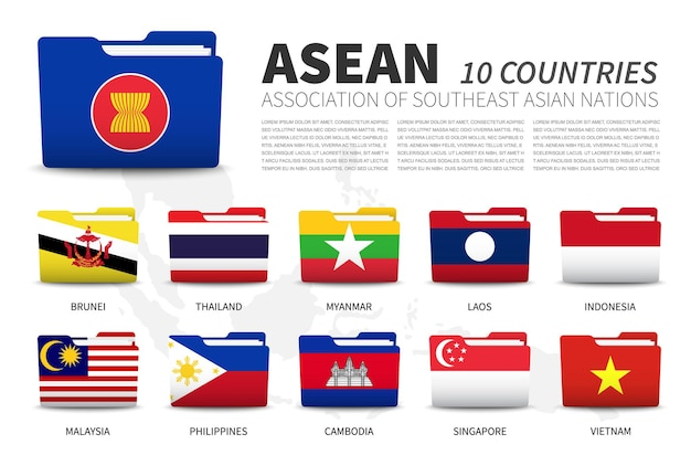 Asean. stowarzyszenie narodów azji południowo-wschodniej i członkostwo. projekt flagi folderów. mapa azji południowo-wschodniej.