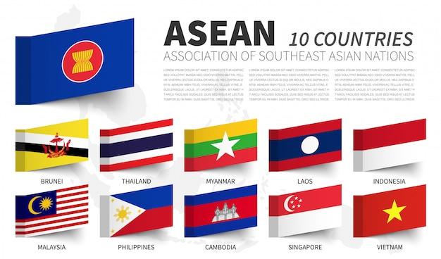 Asean. stowarzyszenie narodów azji południowo-wschodniej. i flagi członkowskie