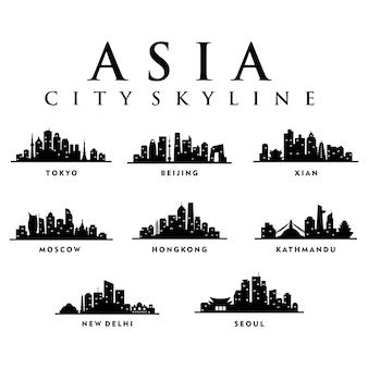 Asia azjatyckie miasta - city tour skyline illustration