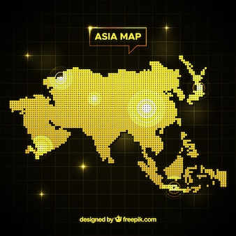 Asia mapy tło z kropkami